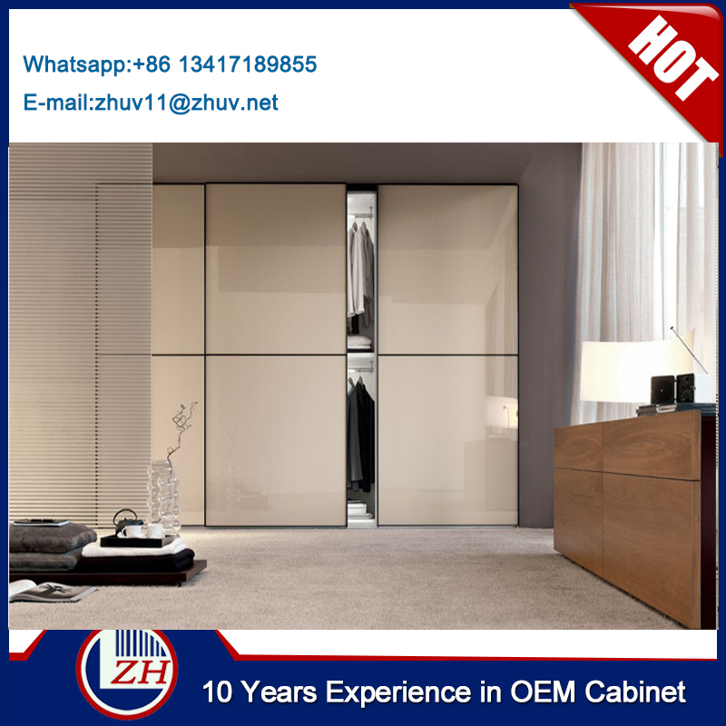 China Made Light Gold Color Frosted Bedroom Closet Sliding Door