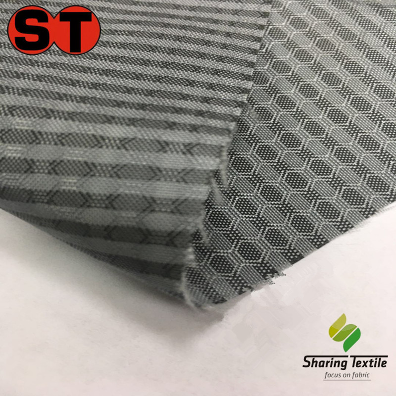 Polyester cationic two tone hexagonal diamond gifted gel football lattice fabric/Honeycomb plaid oxford fabricfor tent backpack
