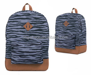 zebra print fabric backpack bag