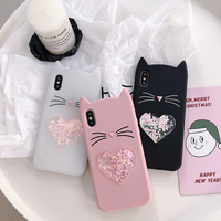 lucky cat silicon mobile phone case cute beard lovely quicksand glitter liquid cellphone case for iPhone