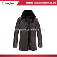 Chonghan 2017 Online Fashion Brand Men'S PU Leather Jackets With Fur Collar