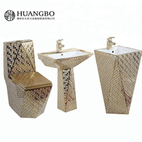 Chinese Sanitary ware complete set ceramic hotel luxury toilet sets gold bathroom accessory set