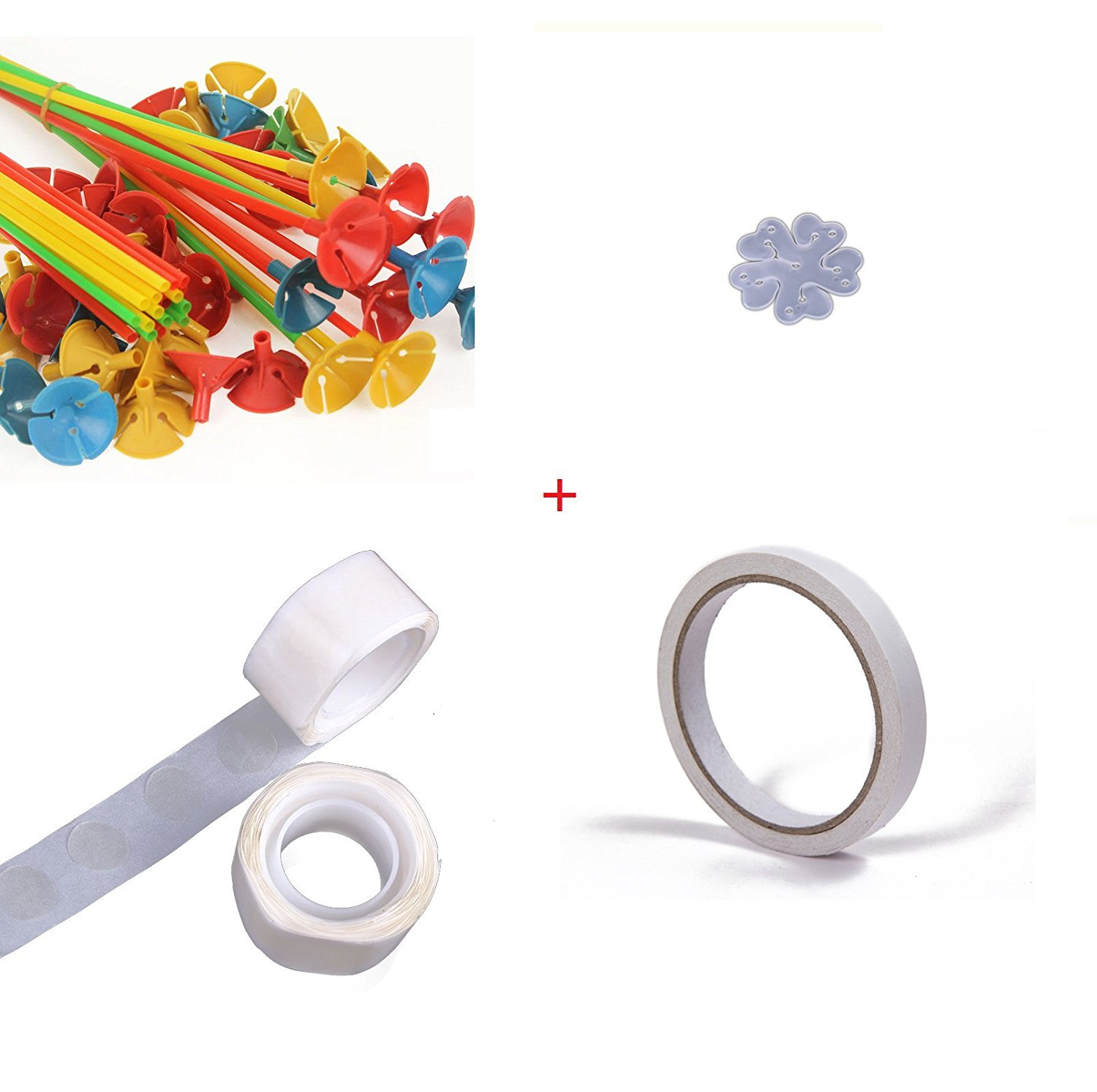 Cindy&Will 1 Set Decorative Balloons Double Sided Type & Spot Stick Type & Balloon Rings & Sticks