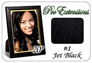 "Pro Extensions Body Wave 20"" x 39"" #1 Jet Black 100% Clip on in Human Hair Extensions"