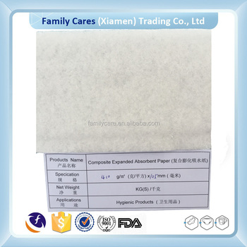 wholesale Raw Material Roll composite expanded absorbent Paper for Baby Diaper production