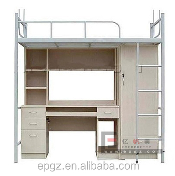 Wooden Bed With Study Table For Dormitory Beds For Sale