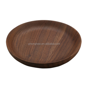 walnut wood round shape plate food dishes bowl