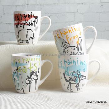 Whole Bulk Custom Shape Decal Printed Ceramic Coffee Mug