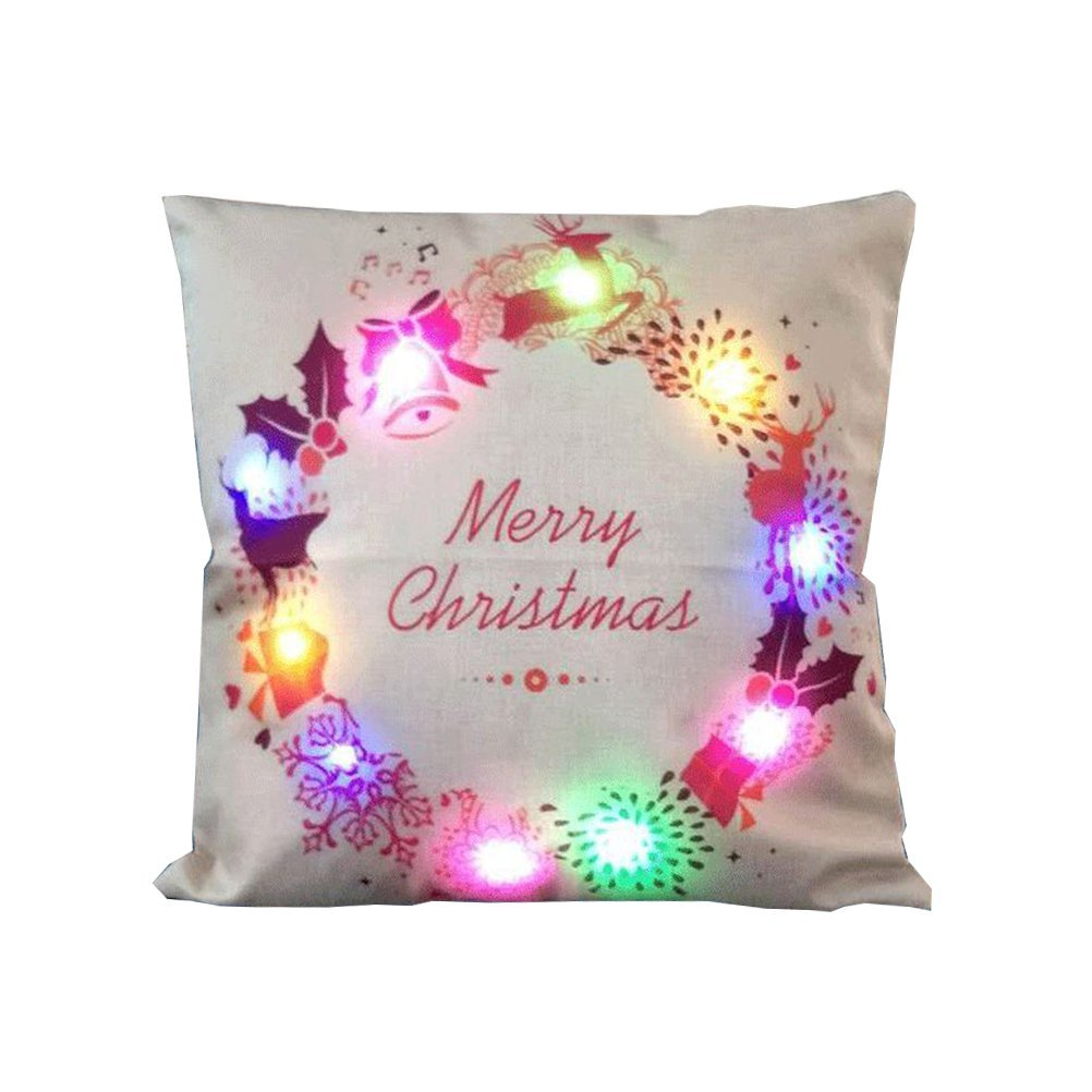 get quotations tinksky christmas throw pillow covers with led lights soft linen picturesque light up christmas series cushion