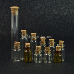 3ml 4ml 5ml 10ml mini glass bottle clear amber small glass vial with cork in stock