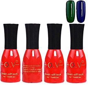 QINF 4PCS OV Red Bottle Soak-off UV Gel Set Top Coat+Base Gel+2 UV Color Builder Gel(No.79-80,15ml)