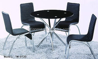 2015 morden design kitchen furniture round glass top stainless steel dining table and chairs