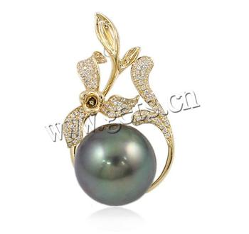 14K Gold Flower with cubic zirconia Natural Akoya Cultured Pearl Pendants