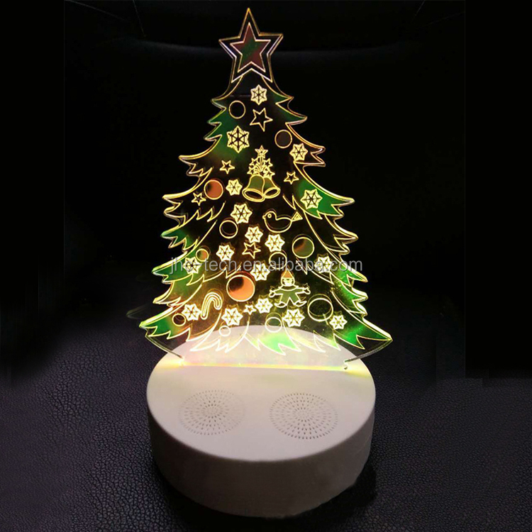 2018 decoration custom christmas trees colorful LED light wireless 3D projector speaker with am fm