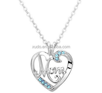 free shipping Mother day gift 18k gold MOM letter pendant heart necklace