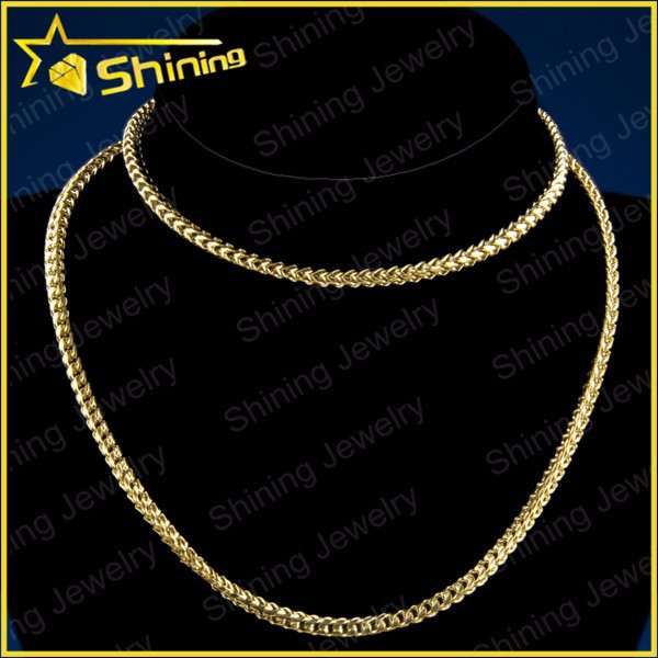 Cool hip hop jewelry men 14k Franco stainless steel jewelry gold filled chain