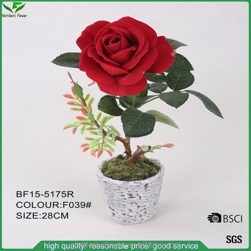 best selling fashionable velvet red artificial red rose flower for decoration