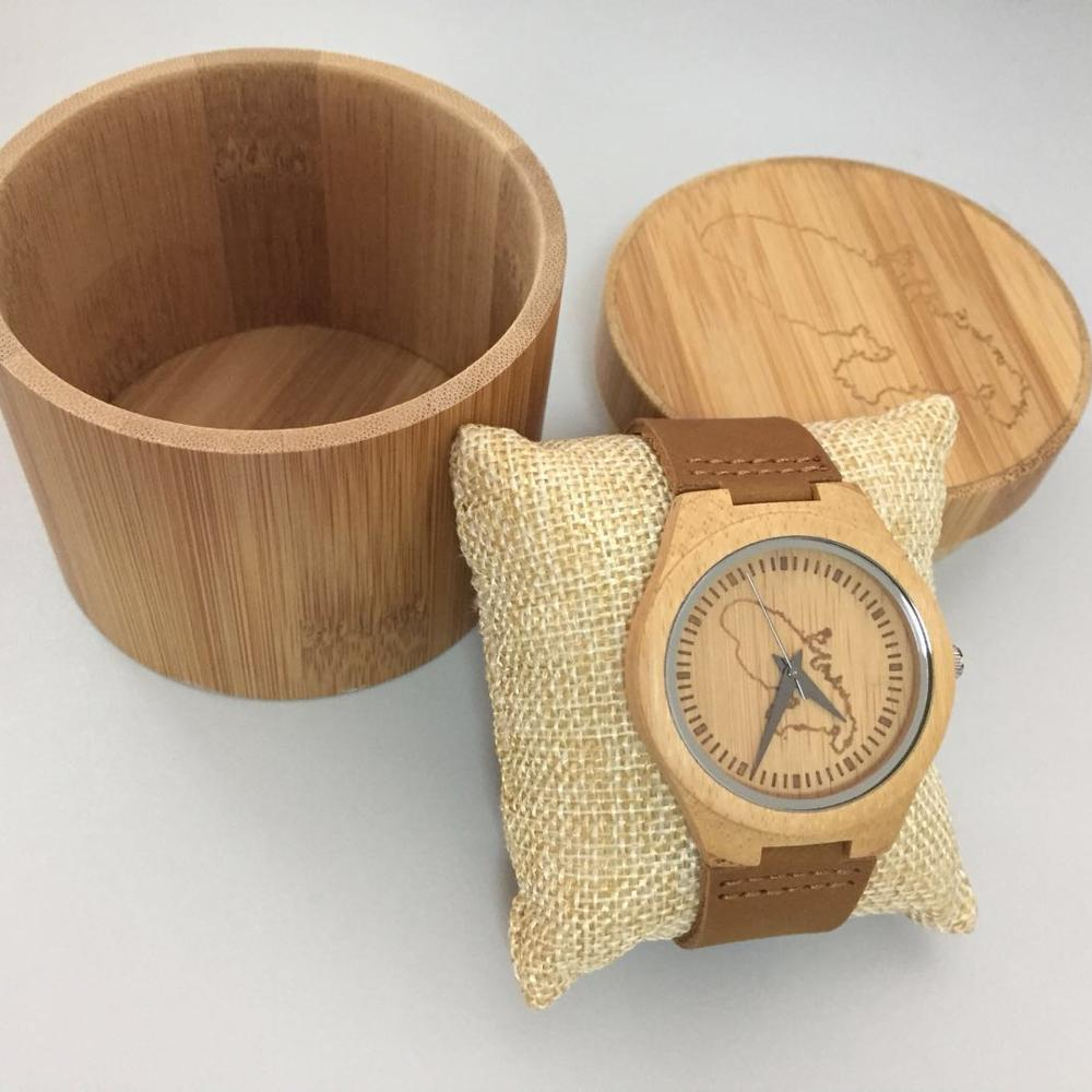 Hot selling Custom logo Natural Bamboo Wood Watch With Genuine Leather Strap