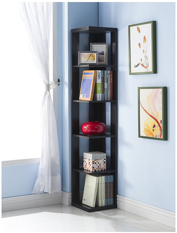Black Finish Wood Wall Corner 5-Tier Bookshelf Bookcase