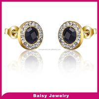 Best Selling diamond women black stone gold 316l stainless steel daily wear earrings