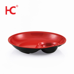 Modern plate with sauce holder wholesale sushi plate melamine