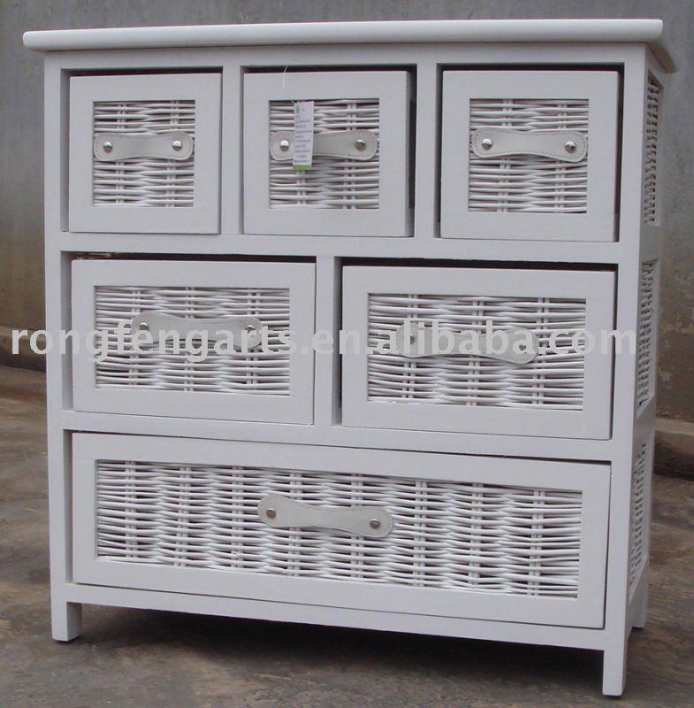 En bois cabient avec l 39 osier tiroirs en bois meubles for Meuble de rangement en osier
