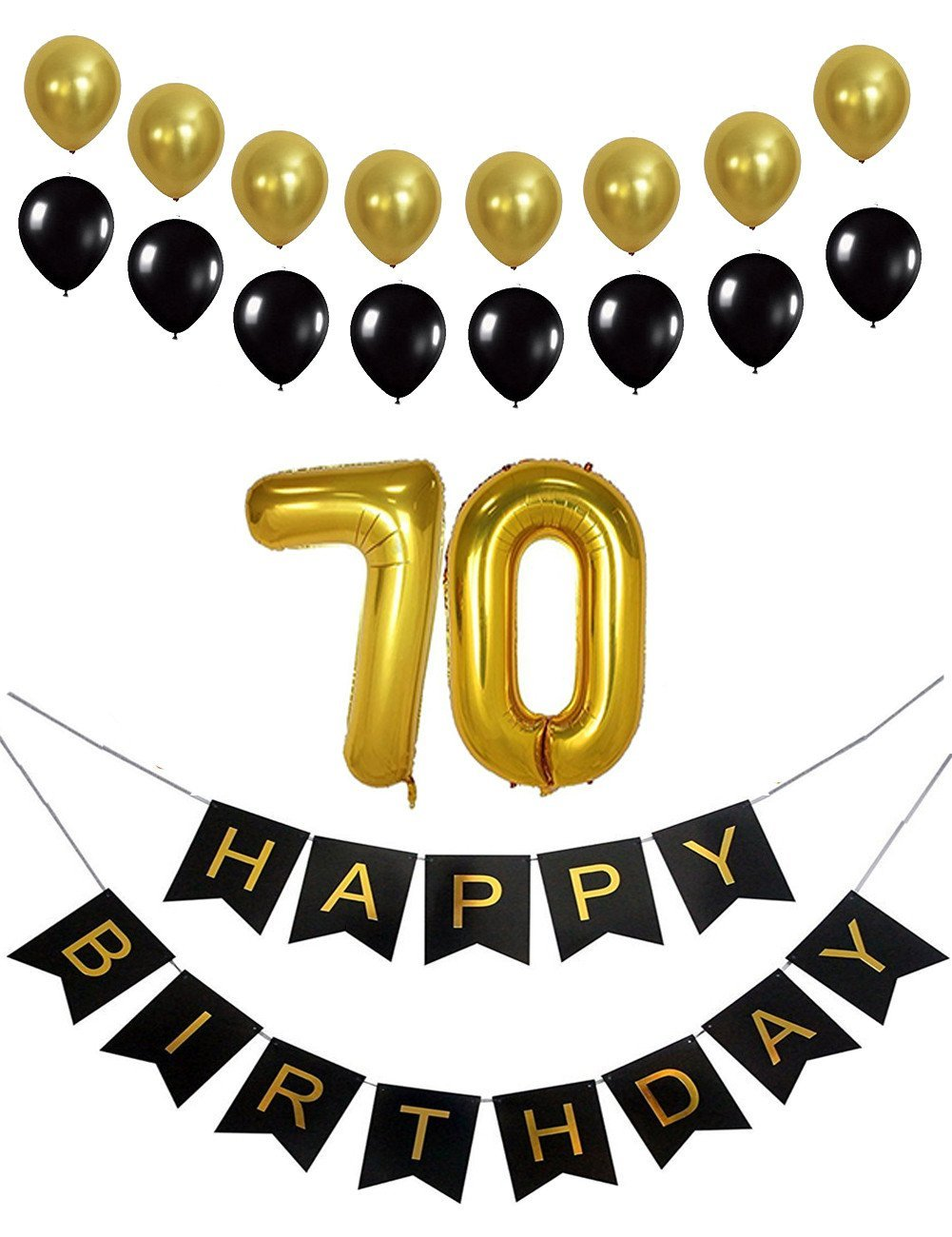 70th Birthday Decorations Party Supplies Favors Happy Banner Mylar Balloons Number 50