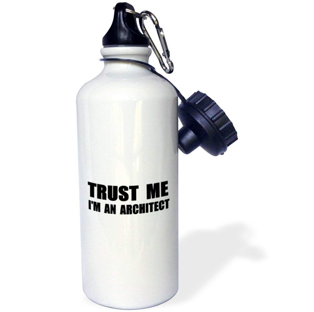 3dRose wb_195589_1 Trust me Im an Architect - fun architecture humor funny job work gift Sports Water Bottle, Multicolored, 21 oz