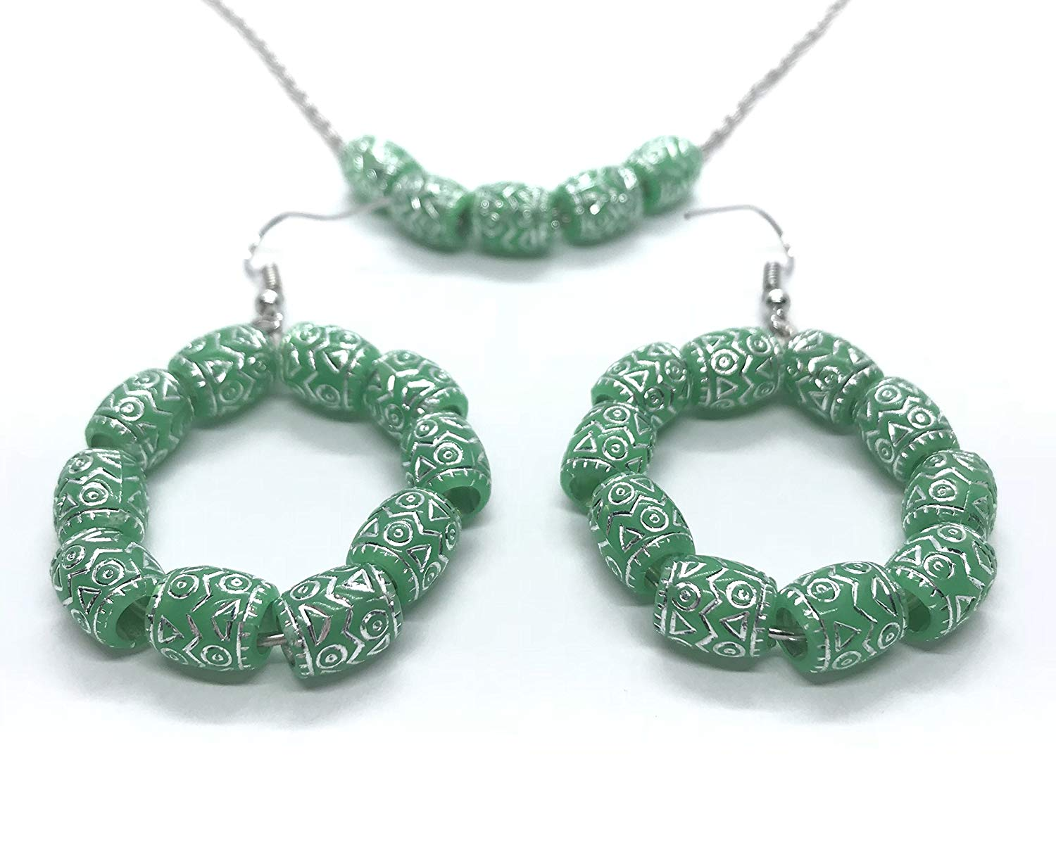 Aadyasha Creations, Handmade and crafted green acrylic bead earrings and necklace. Silver designed, green acrylic bead jewelry.