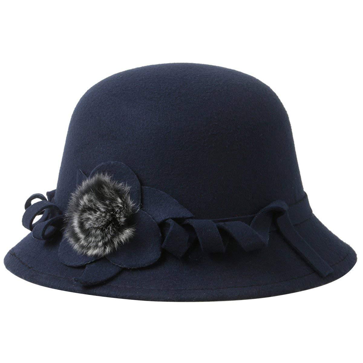 80261ba09e17b4 Get Quotations · EUBUY Women Vintage Wool Felt Bowler Hat Winter Fedora Hat  Floppy Hat Wide Brim Cloche Hat