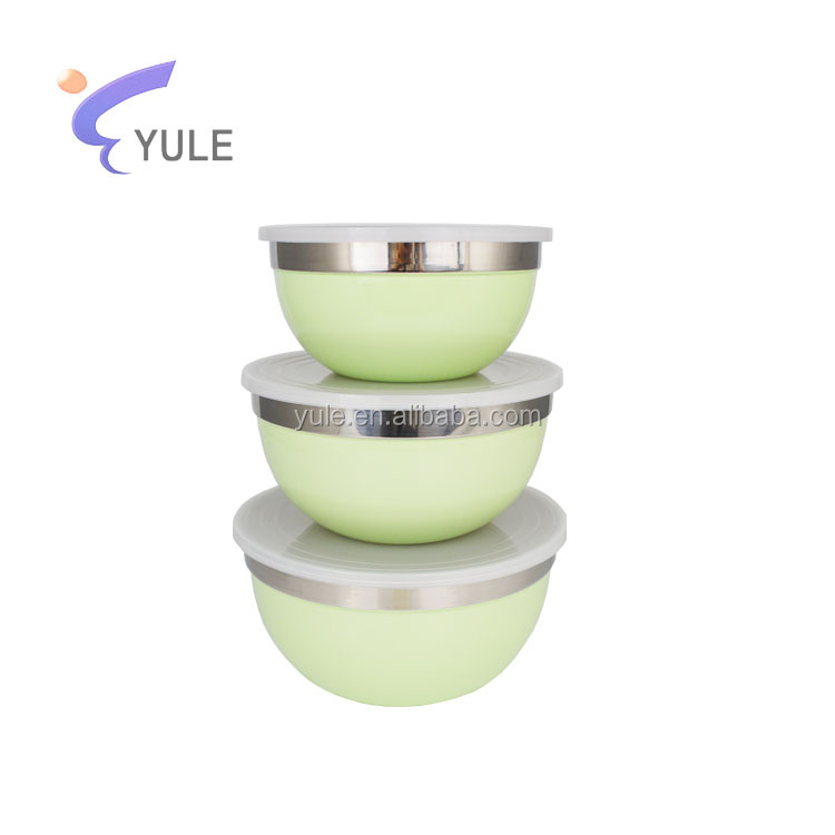 Wholesale set of 3 stainless steel round containers storage box/bowl with lid 14-18cm
