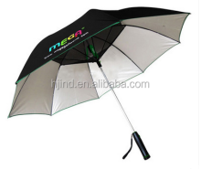manual open straight uv umbrella with fan