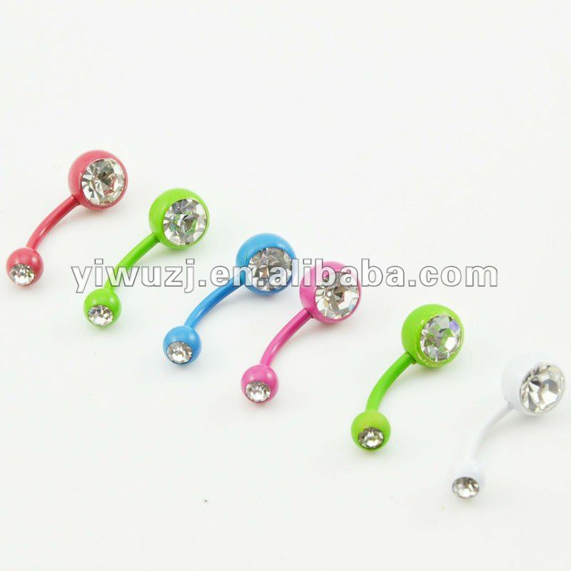 2014 hot wholesale gauges 316L surgical stainless Steel gem crystal stone plated colors navel ring
