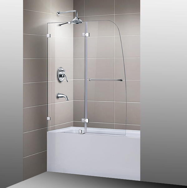 Chinese Manufactured Over Bath Frameless Glass hinge Shower Tub Door