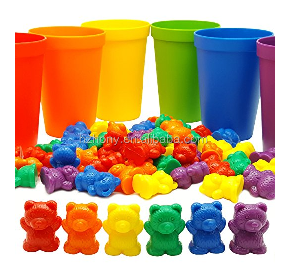 60 Rainbow Counting Bears with 6 Color Matching Sorting Cups Set - Montessori Toddler Counters & Preschool Math