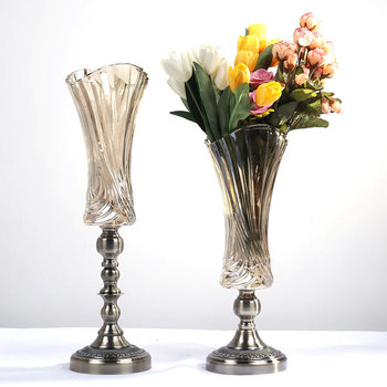 Table Centerpiece Decorative Metal Stand Tall Murano Glass Vase