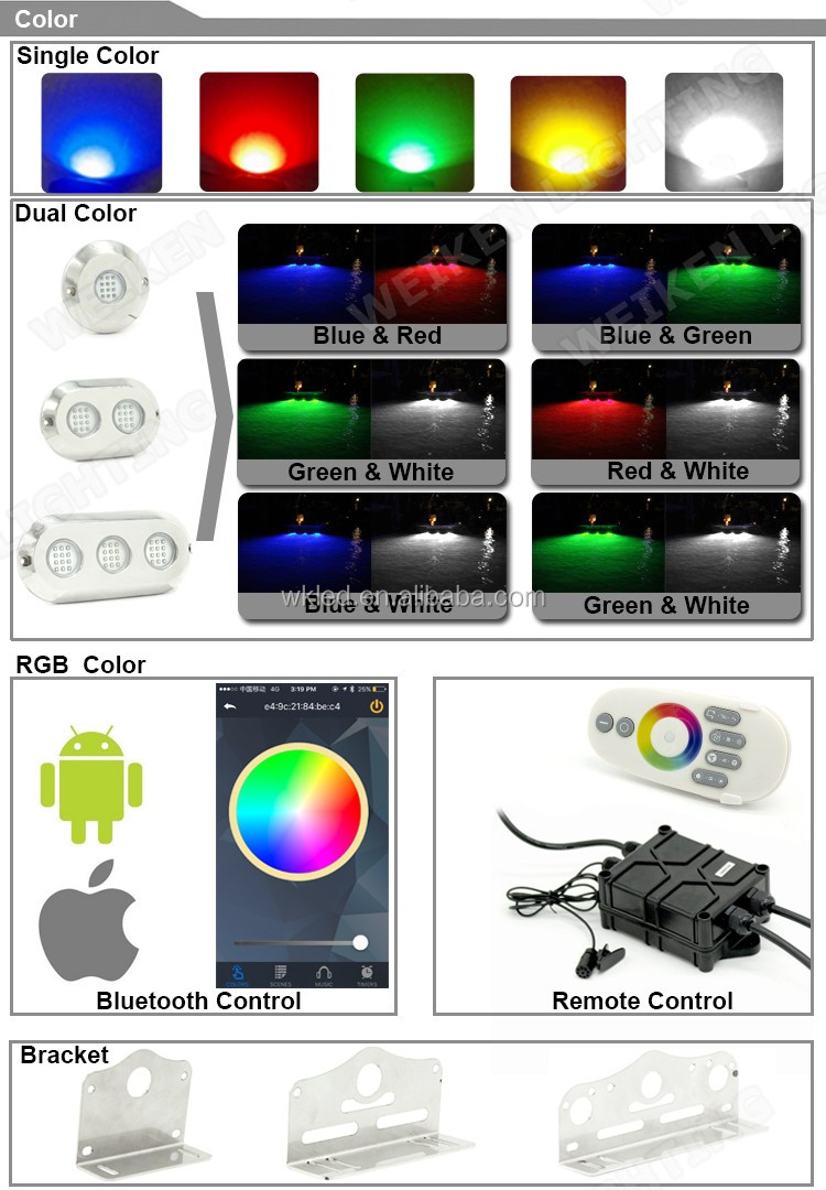 Factory Price IP68 12v 60w LED Underwater Boat Lights and Dock Lights Single Lens Green