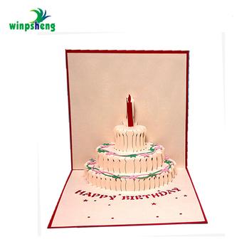 Laser Cut 3D Pop Up Cake Customized Birthday Greeting Card