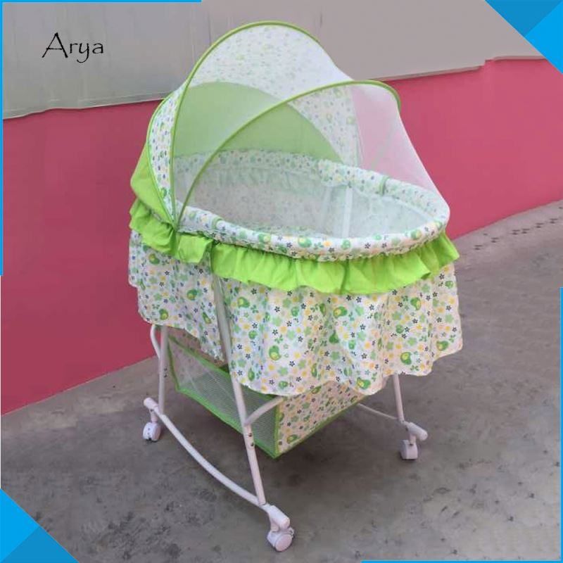 NEW DESIGN comfortable Swing wicker bassinet automatic folding rocking wooden wood doll cradle india baby electric for babies