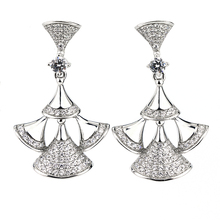 Fashion earring designs 925 silver jewelry trumpet shape new latest model korean earrings with cz