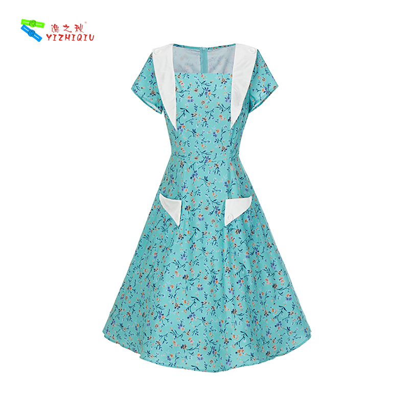 YIZHIQIU New print revives  elegant printing closes the waist to trim the body to show the thin big poses the dress