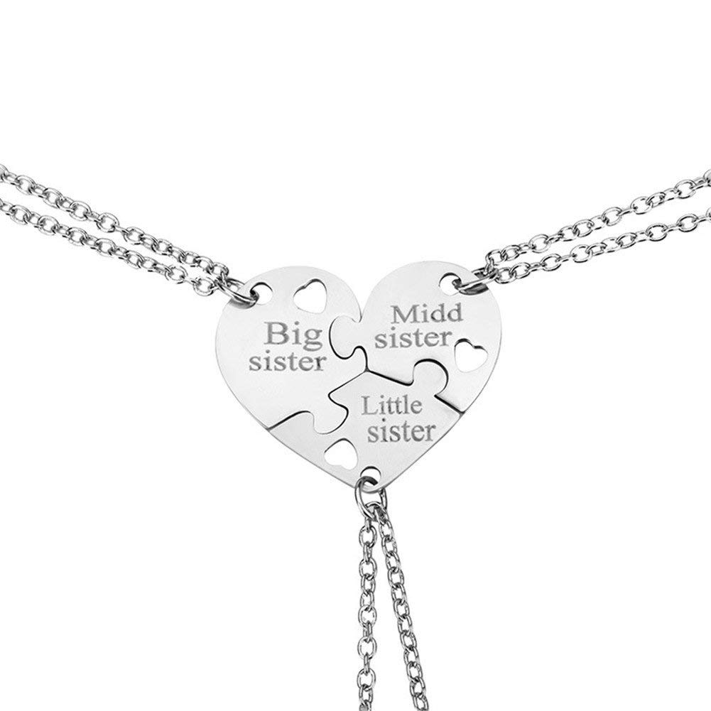 Get Quotations Birthday Gift For Little Middle Big Sister Heart Puzzle Pendant Necklace SetThree Sisters