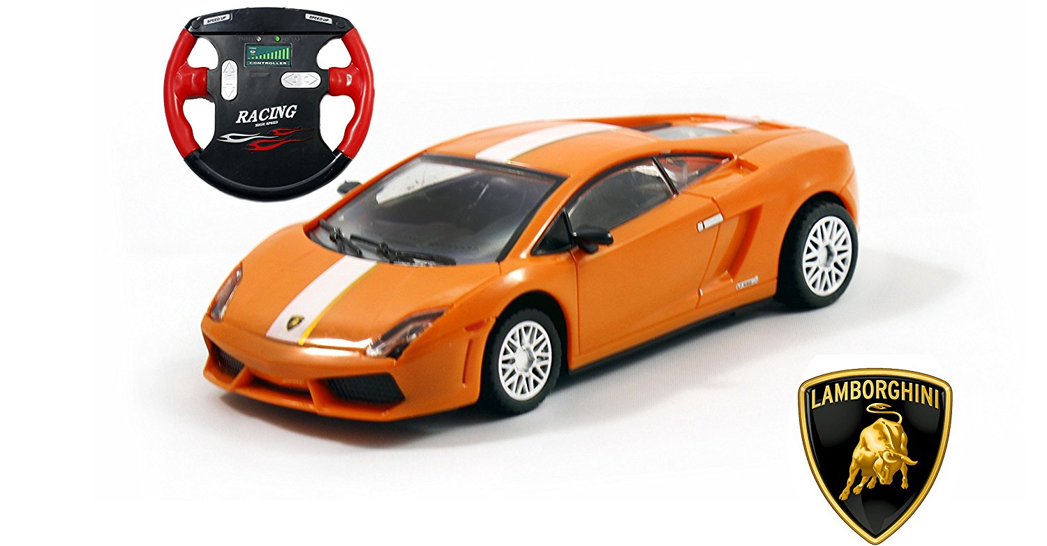 Lamborghini Gallardo LP 560-4 SV Mini Licensed RC Car - 1/43 Scale - Orange w/White Stripes