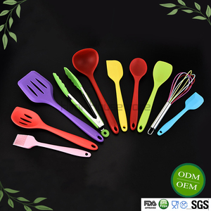 HiMi Colorful Silicone Kitchen Utensils, Tongs, Scrapers, Scoops,Turners Server 10 Piece Cooking Tools Set