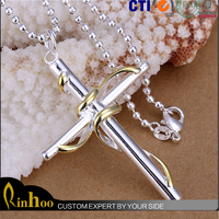 new design jesus two -tone cable twisted cross pendant necklace