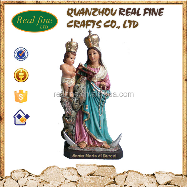 Poly resin The virgin holding baby religious statue For Home Decoration