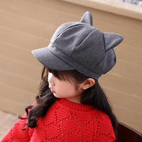 S32168W Girls Winter Wool Felt Hat Cute Rabbit Ears Elegant Girls Winter Hats