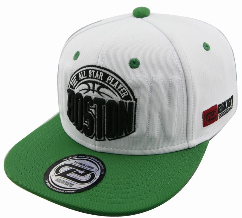 BOSTON the all star player embroidery mini-ottoman material for snapback hiphop flat cap and hat manufacturer