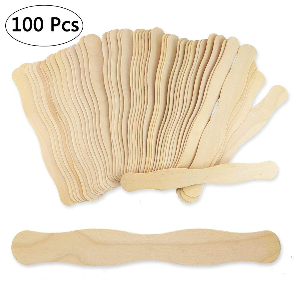 Bignc 100pcs 9 inches Jumbo Craft Sticks, Natural Popsicles, Wavy Wood Fan Handles, for Crafts, Wedding and Paint Sticks