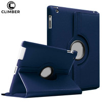 360 Rotation Auto Wake Up Sleep Flip Lychee Leather Stand Tablet Cover For iPad 3 4 Accessories,For iPad 2 Case